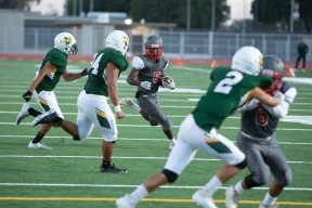 Savanna senior Shamonte Rogers (5) looks to score but ends up out of bounds at the 10 yard line