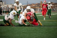 Garden Grove's Devyn Garcia (7) scores the first of the Argo's two touchdowns on a pass play in the first quarter.