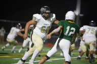 Magnolia's offensive tackle, Jinoh Lutfi (62) looks to make a block on Rancho's Marco Garcia (12).