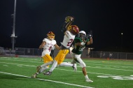 An interception by the Aztecs' Coby Hoke (26) in the first quarter set the tone of Friday's round one of CIF playoffs. Rancho Alamitos was overwhelmed by Esperanza.