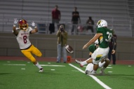 Rancho's kicker , Andres Puentes (32) scored the Vaqueros' only points of the game early in the second quarter.
