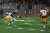 Pass intended for Vaquero Kevin Torres is broken up by Aztec Isaac Contreras (8).
